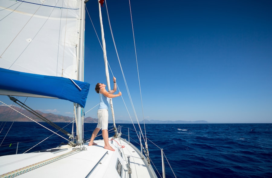 Photo of a man on a sailing trip.